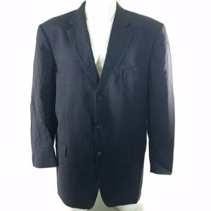 Burberry London Blue Pinstripe Kensington Blazer